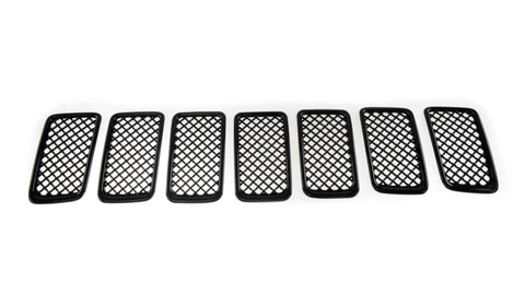 Gloss Black ABS Grille Overlays 7Pc Fits Jeep Gr Cherokee 2014-2016 ABS6403BLK