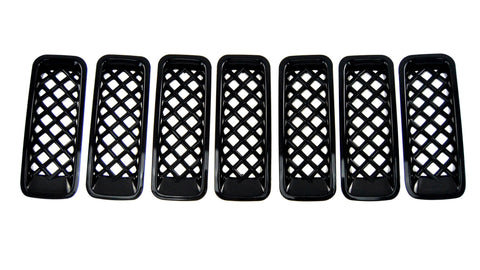 Auto Trim fits Jeep Patriot 2011-2017 7 piece Gloss Black ABS Plastic Grille Overlays  ABS6419BLK