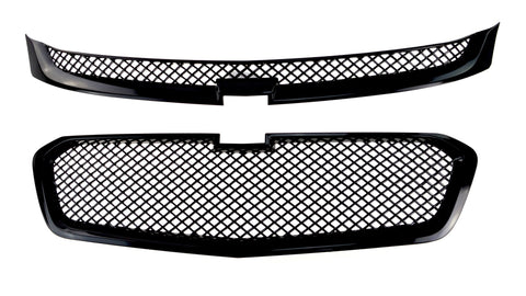 Auto Trim fits Chevrolet Malibu 2014-2015 2 piece Gloss Black ABS Plastic Grille Overlays Mesh Design ABS6452BLK