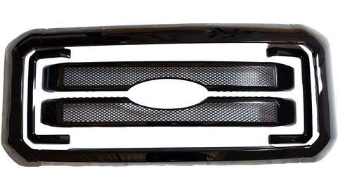 Auto Trim fits Ford F-250 & F-350 Super Duty 2011-2016 8 piece Gloss Black ABS Plastic Grille Overlays Fits work truck with vertical grille bars, Includes surround ABS6469BLK