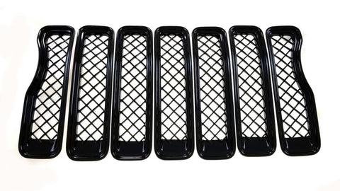 Auto Trim fits Jeep Gladiator 2020-2021, Jeep Wrangler JL 2018-2021 7 piece Gloss Black ABS Plastic Grille Overlays Fits grille with bezel ABS6495BLK
