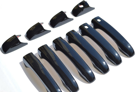 Auto Trim fits Chrysler 300 2005-2010, Chrysler Sebring 2005-2010, Chrysler Town & Country 2008-2016, Dodge Avenger 2008-2014, Dodge Caliber 2007-2012, Dodge Durango 2005-2008, Dodge Grand Caravan 2008-2020, Dodge Journey 2009-2012, Dodge Magnum 2005-2008, Jeep Patriot 2009-2017, Jeep Grand Cherokee 2011-2020, Volkswagen Routan 2009-2012 10 piece Gloss Black ABS Plastic Door Handle Covers with or without Smart Key access DH6187BLK