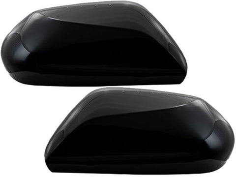 Auto Trim fits Toyota Camry 2018-2020, Toyota Prius 2016-2020 2 piece Gloss Black Plated ABS plastic Mirror Cover Set With or Without Turn Signal Access, Snap on Replacement, Top Half Only MC67533RBK