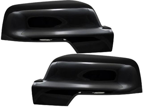 Auto Trim fits Ram Trucks RAM 2019-2020 2 piece Gloss Black Plated ABS plastic Mirror Cover Set Includes Turn Signal Cutout, Snap on Replacement, Top Half Only MC67534RBK