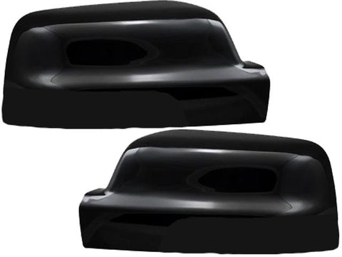 Auto Trim fits Ram Trucks RAM 2019-2020 2 piece Gloss Black Plated ABS plastic Mirror Cover Set Does not include turn signal cutout, Snap on Replacement, Top Half Only MC67535RBK
