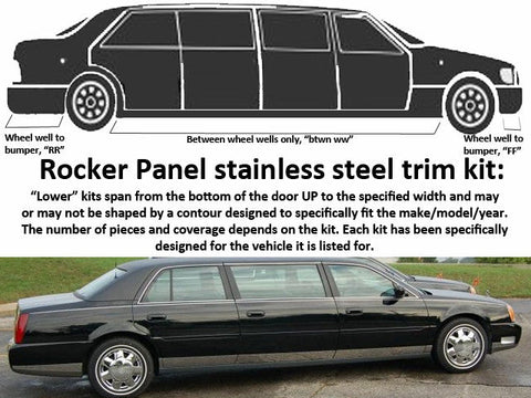 QAA fits Cadillac DeVille 2000-2005 (12 piece Stainless Steel Rocker Panels) TH40237-2