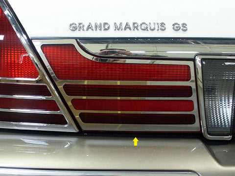 GRAND MARQUIS 2003-2010 MERCURY (2 Pc: Stainless Steel Taillight Extension Bezels, 4-door, GS, LS) TL43481