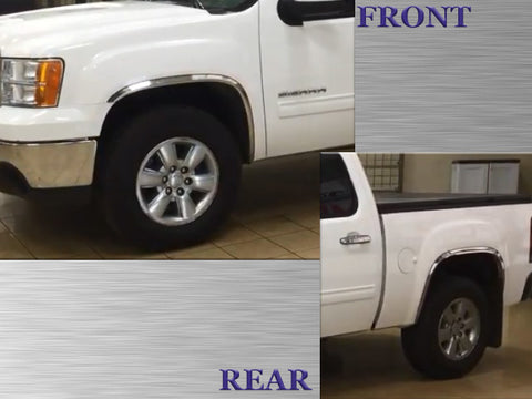 QAA fits GMC Sierra 2007-2013 4 piece Molded Stainless Steel Wheel Well Fender Trim Molding, WZ47281