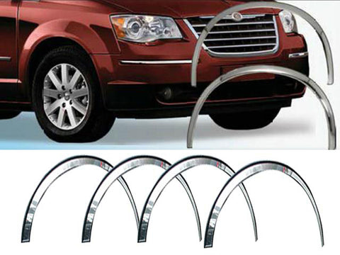 QAA fits Chrysler Town & Country 2008-2016, Dodge Grand Caravan 2008-2020, Volkswagen Routan 2009-2012 4 piece Molded Stainless Steel Wheel Well Fender Trim Molding, WZ48895