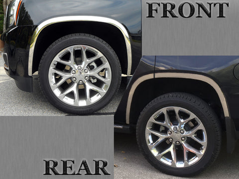 QAA fits Chevrolet Tahoe 2015-2020, GMC Yukon 2015-2020 6 piece Molded Stainless Steel Wheel Well Fender Trim Molding, WZ55195