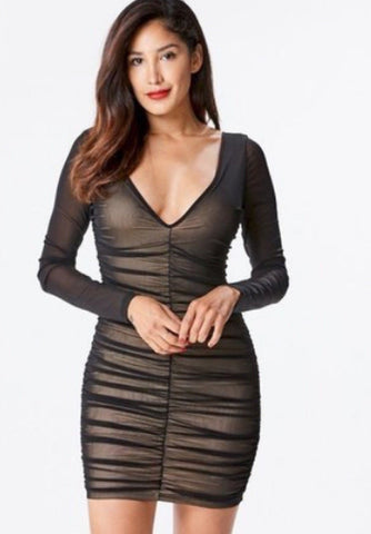 ~Black Mesh Gathered Dress