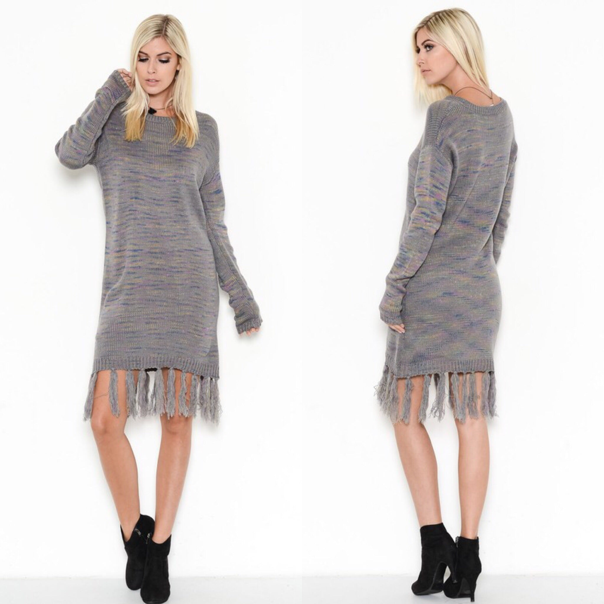 ~Marled Gray Fringe Sweater Dress - TRUE.