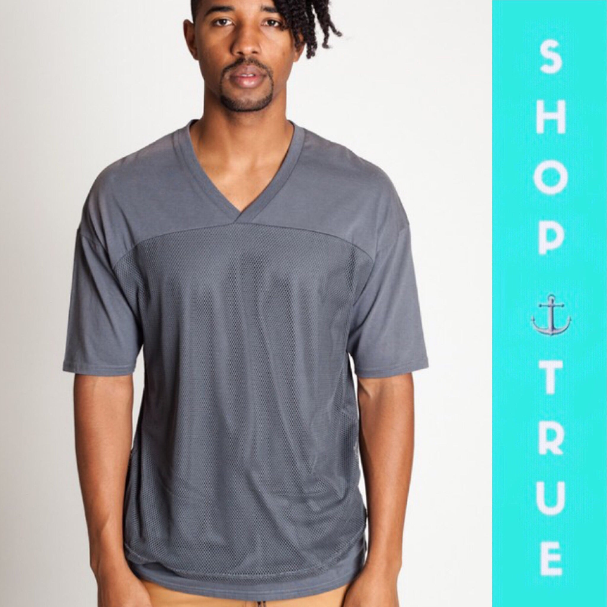 Gray Mesh Men's Short Sleeve Shirt - TRUE.
