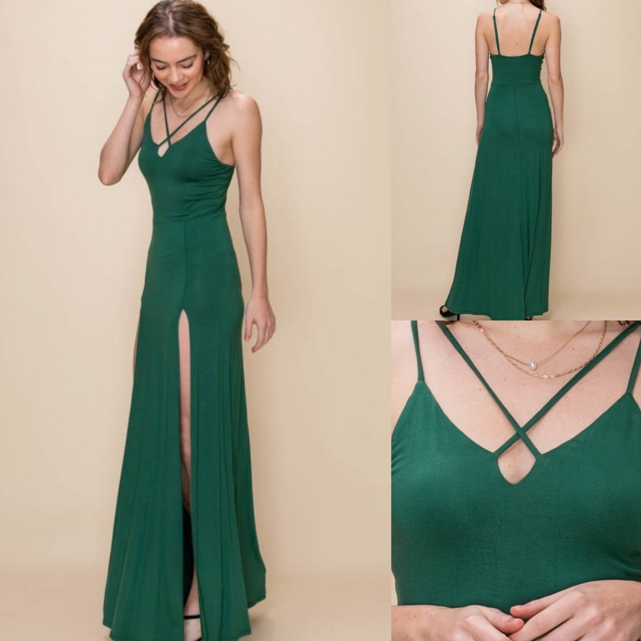 Focus Green High Slit Maxi Dress
