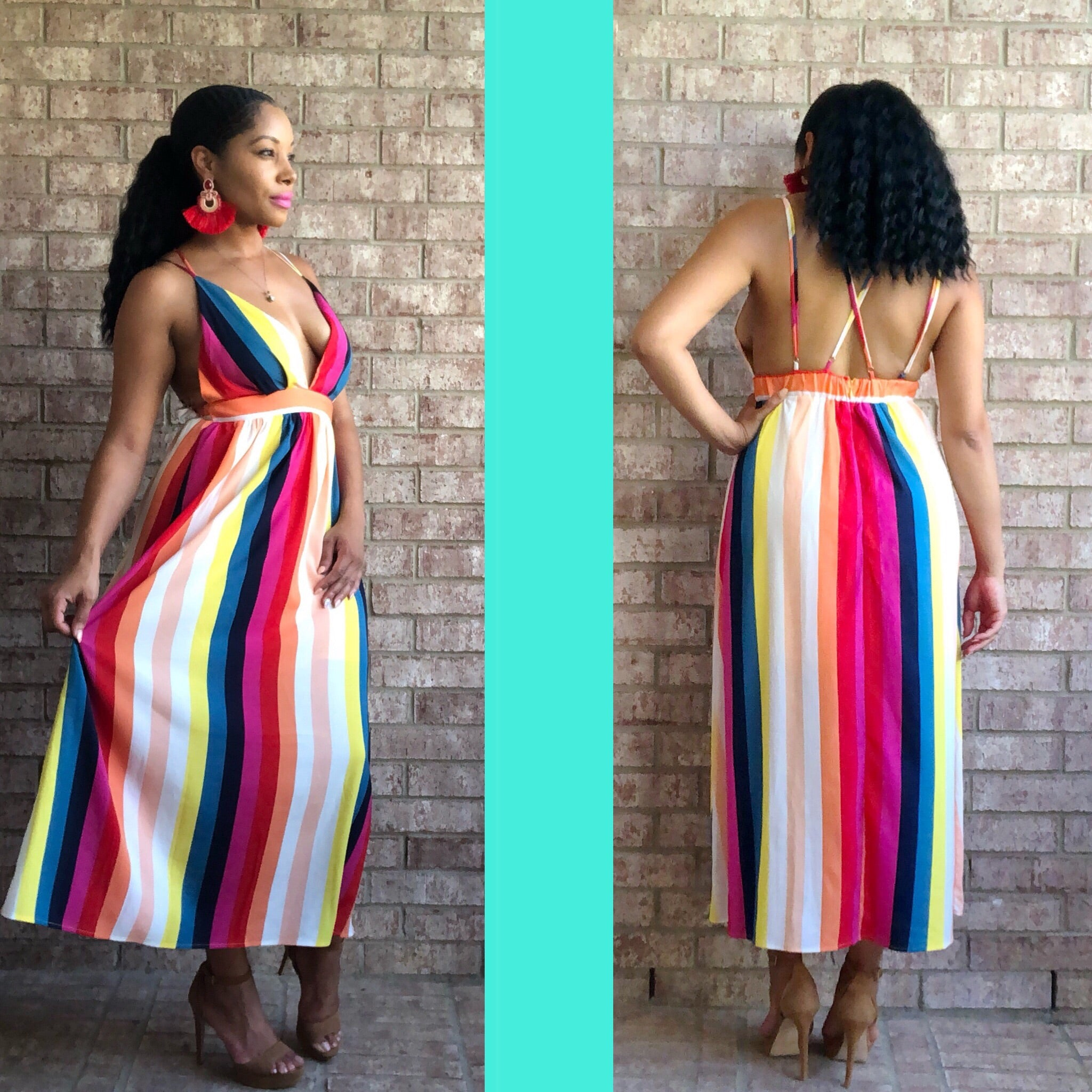 Rainbow Stripe Dress - TRUE.