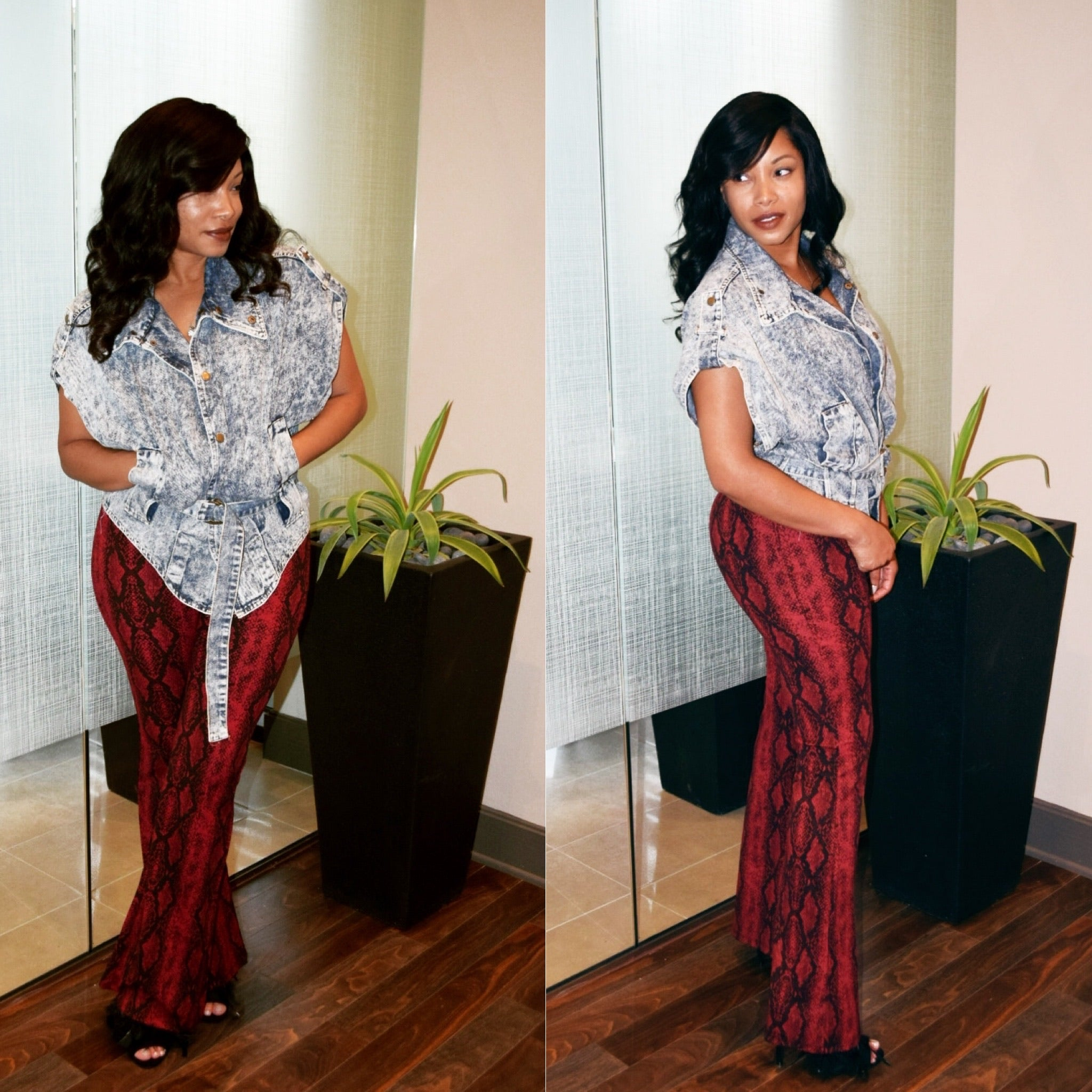 Sultry Red Snakeskin Printed Pants - TRUE.
