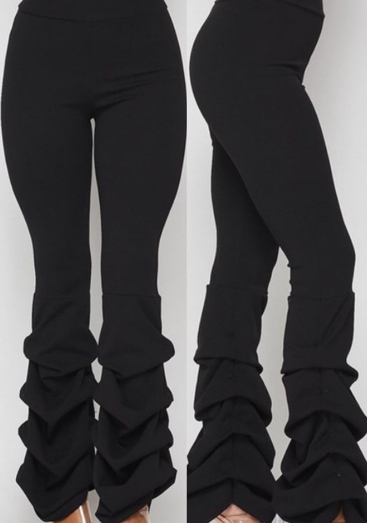 Top of The Line Tiered Black Pants - TRUE.