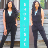 Webbie Back Cutout Pocketed Jumpsuit - TRUE.