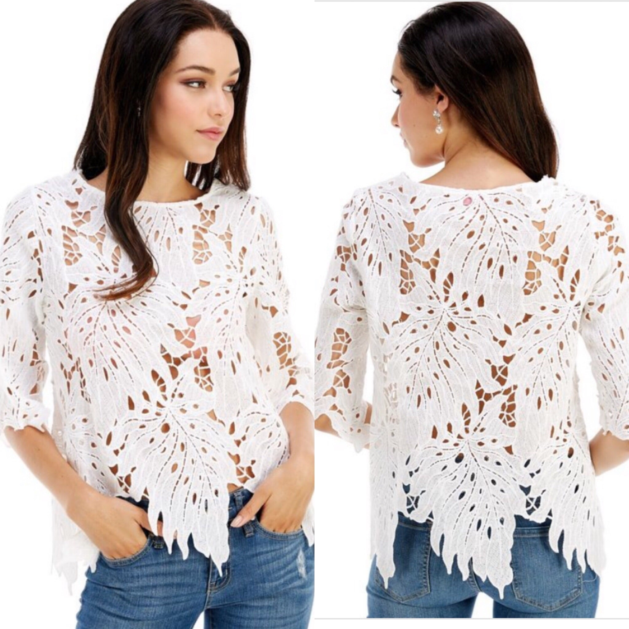 White Peek-A-Boo Cutout Top - TRUE.