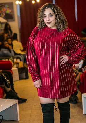 Curve Beauti Regal Red with Gold Pinstriped Shirt Dress - TRUE.