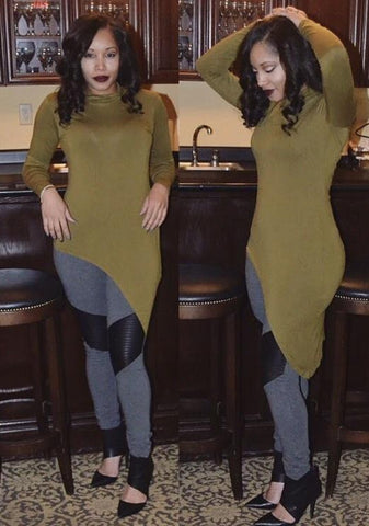 TRUE. Olive My World High Low Mock Neck Tunic - TRUE.
