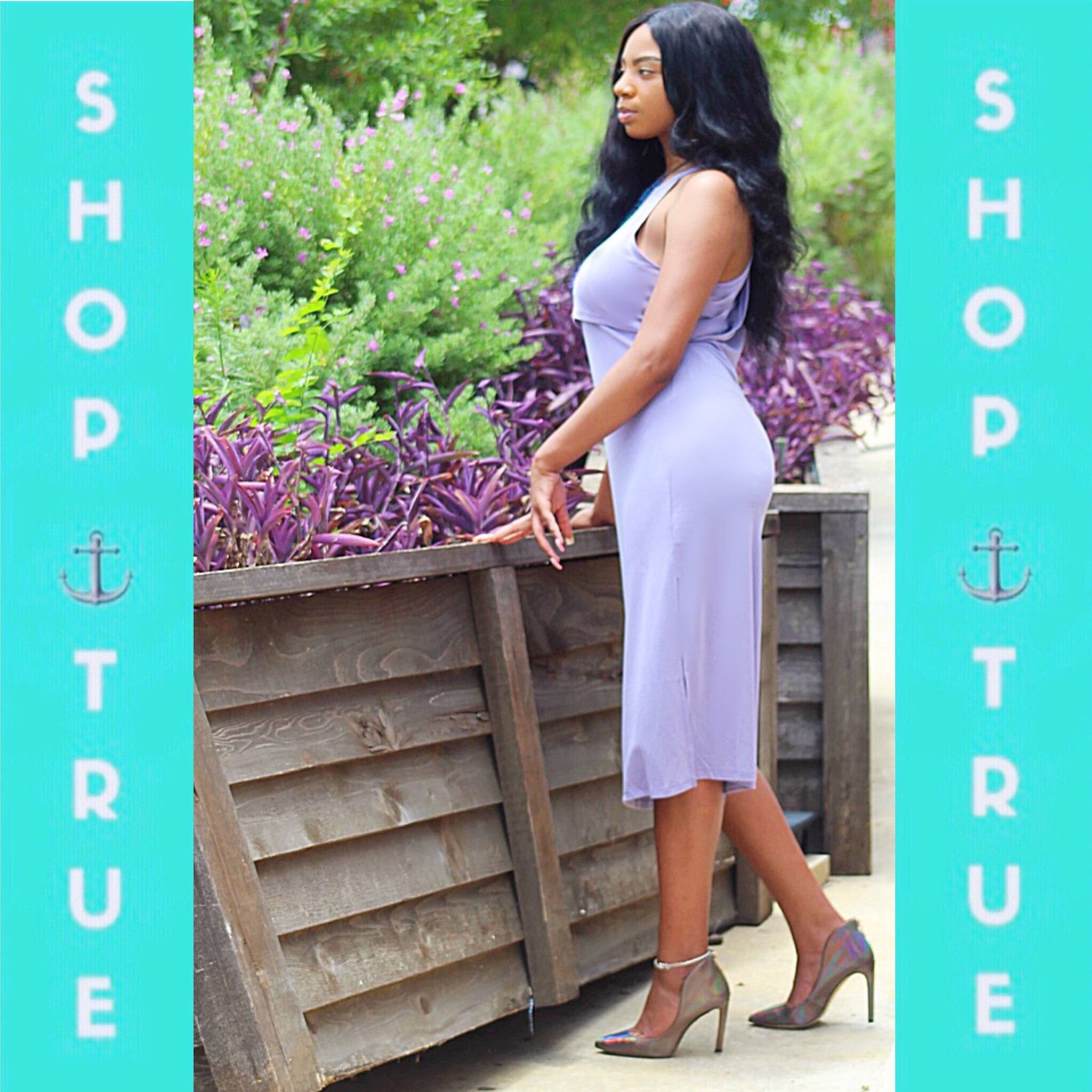 ~Lavender Love Side Split Midi  Dress - TRUE.