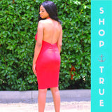 Radiant Red Low Back Midi Dress - TRUE.