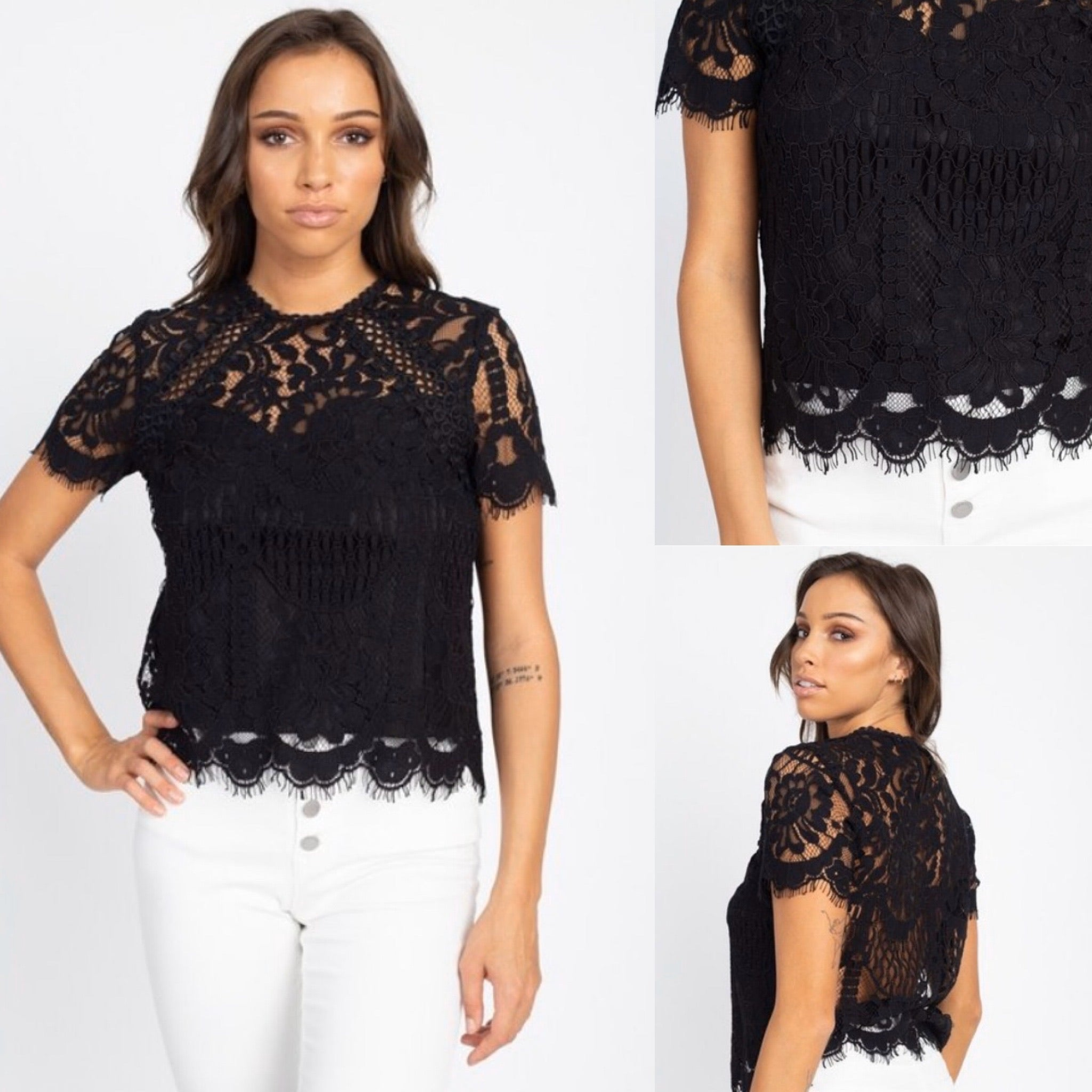 Black Floral Lace Top - TRUE.