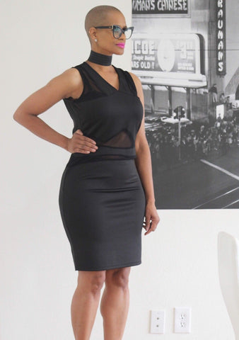 TRUE+ ~ Sleek Peek-A-Boo Mesh Midi Dress - TRUE.