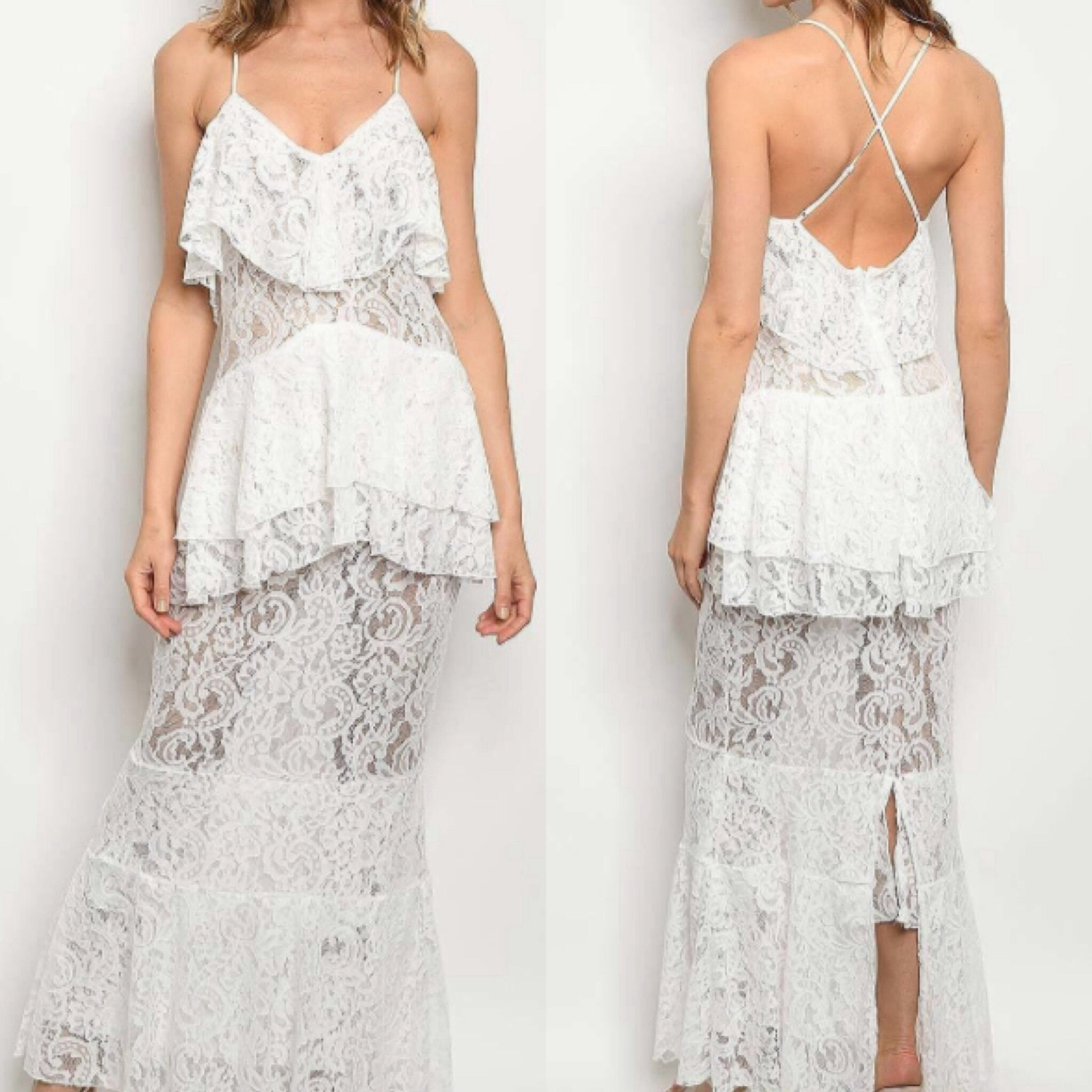 Bliss White Lace Maxi - TRUE.