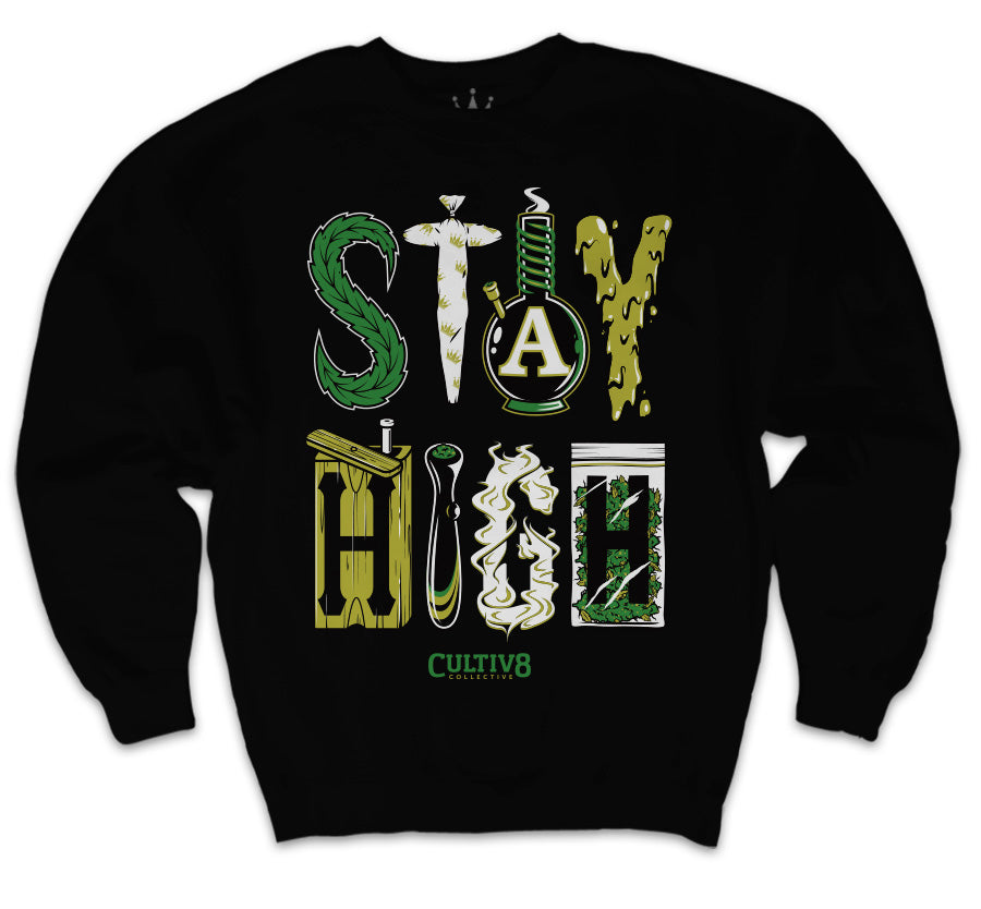 cultiv8 collective stay high crewneck t-shirt