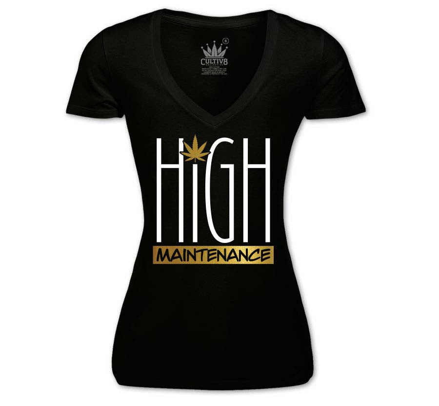 HIGH MAINTENANCE V-NECK - GOLD