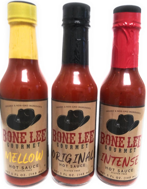 Bone Lee Gourmet Hot Sauce is formulated with Cayenne peppers Organic Spices (including Garlic) Non GMO Vinegar. Kosher Vegan Gluten Free Keto Made in USA