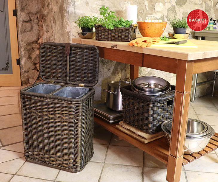 Tall Wicker Trash Basket With Metal Liner