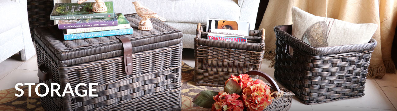 Wicker Storage Baskets, Containers & Trunks