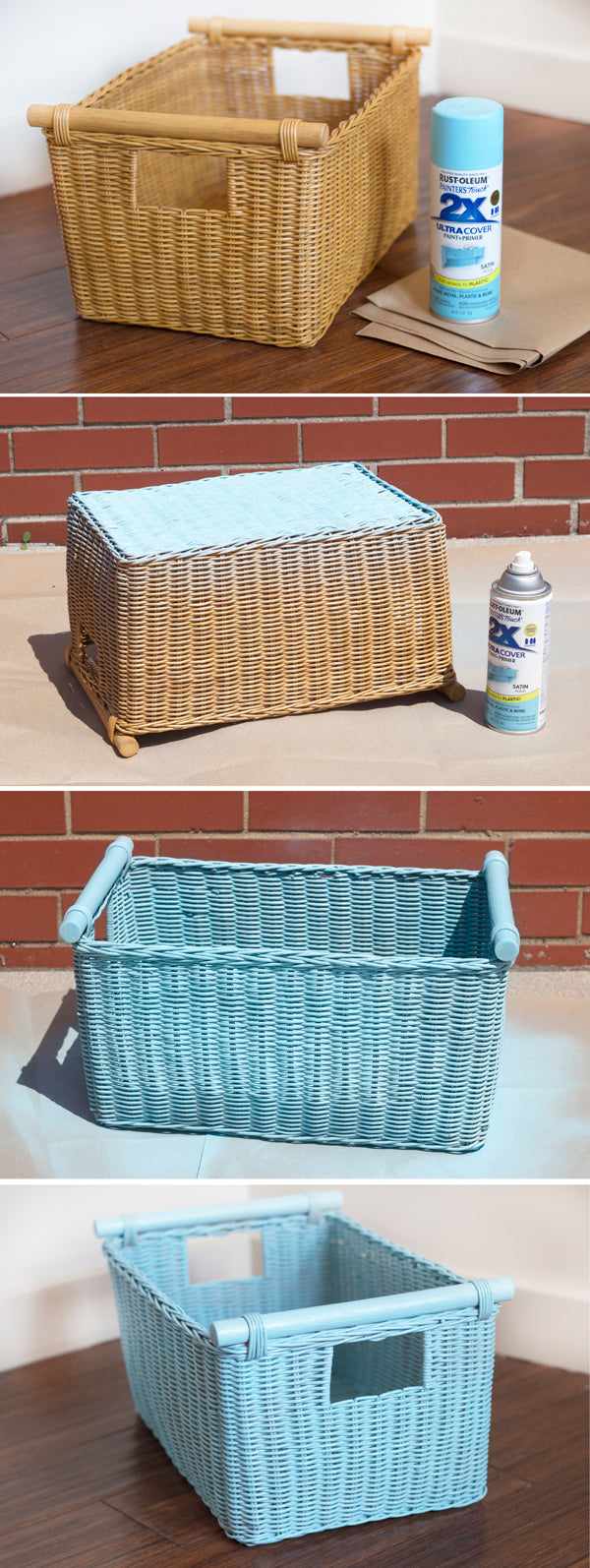 Step-by-step images for spray painting our Pole Handle Storage Basket