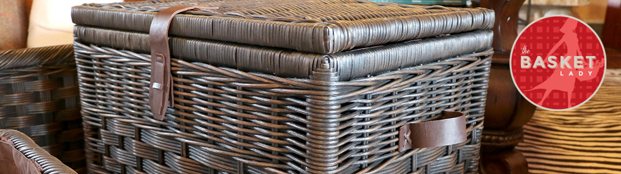Covered & Lidded Wicker Storage Baskets