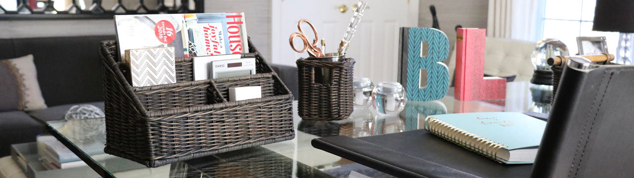 Wicker Baskets for Desktop & Accessories Organization