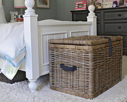 Deep Kubu wicker storage trunk serene gray XL in kids room