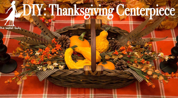 Wicker Gathering Basket from The Basket Lady transformed into a beautifulThanksgiving Centerpiece