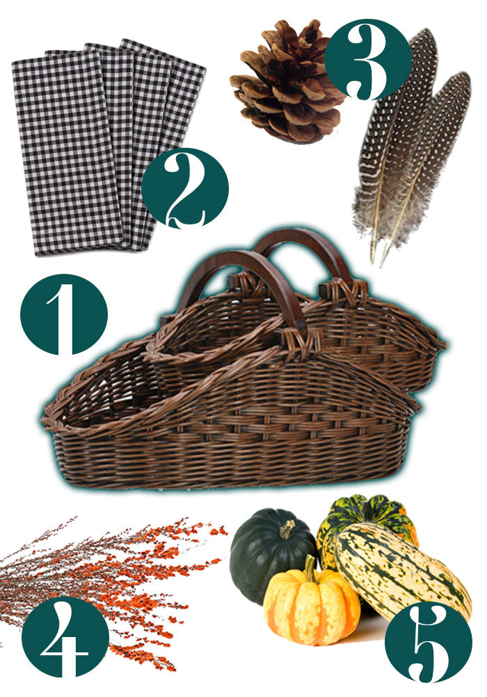 How-To Transform The Basket Lady's Wicker Gathering Basket into a beautiful Thanksgiving Centerpiece