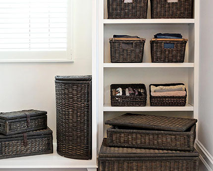 walk in closest storage baskets and hamper in antique walnut brown