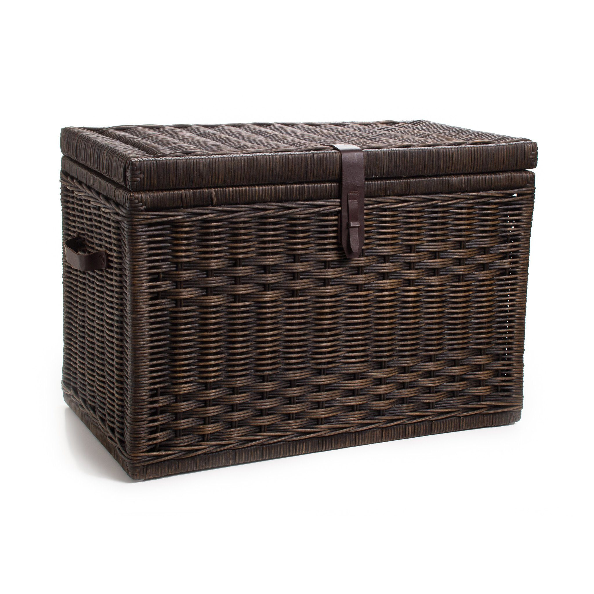 DVD/Paper Storage Basket, 2 sizes shown in Antique Walnut Brown
