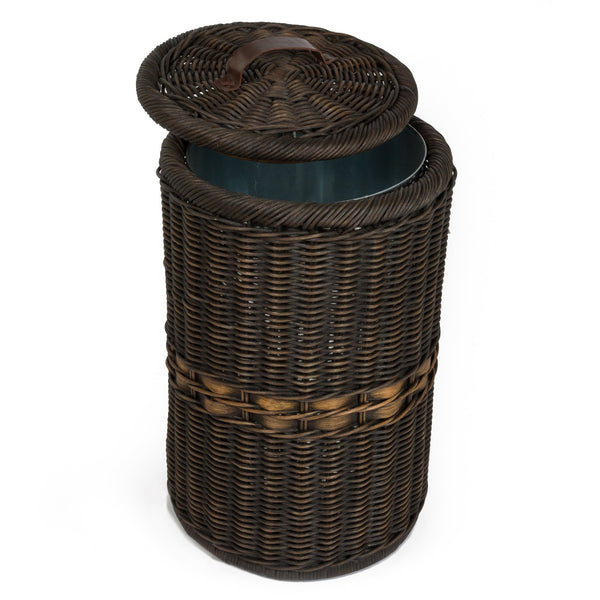 Tall Wicker Waste Basket With Metal Liner The Basket Lady