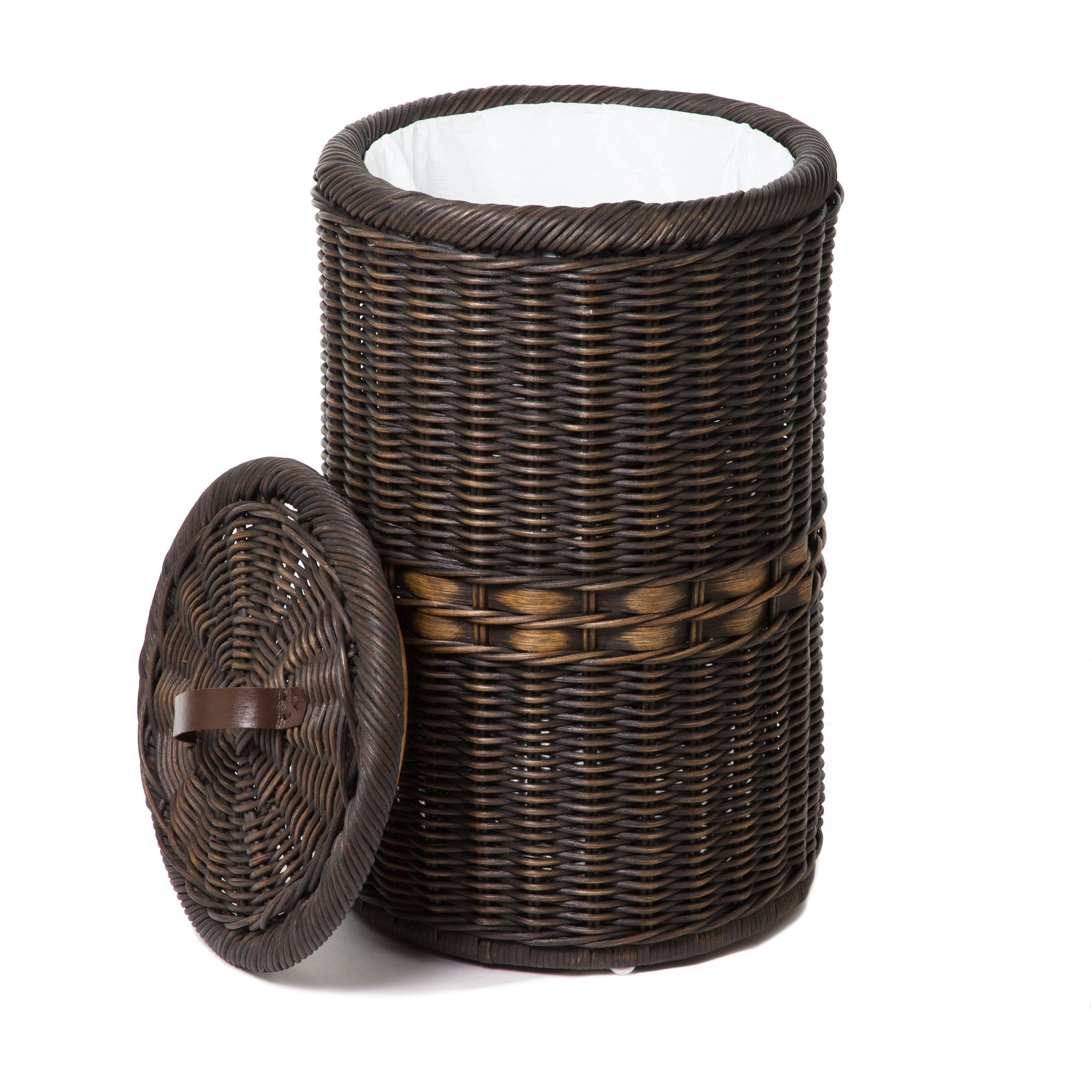 Wicker Wastebasket With Lid Small : Tall wicker waste basket with metal liner the lady