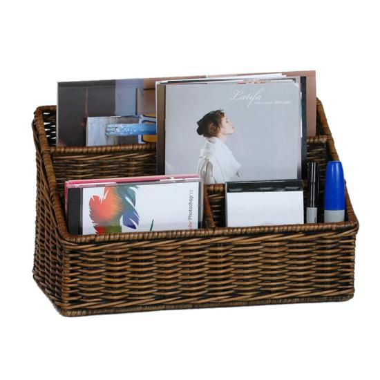 Large Wicker Organizer Basket Desktop Organizer The