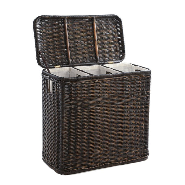3 compartment wicker laundry hamper the basket lady - Rattan laundry hamper ...