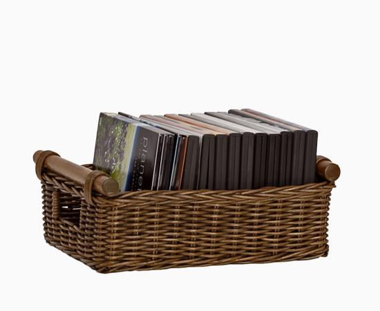 Awesome ... The Basket Lady Wicker DVD Or Paper Storage Basket Antique Walnut  Brown, 2 Sizes Shown ...