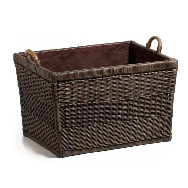 Fabric liner for lift off lid wicker storage basket the