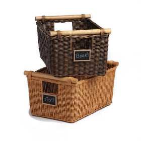Pole Handle Wicker Storage Baskets In Antique Walnut Brown And Toasted Oat,  Mini Chalkboard Not